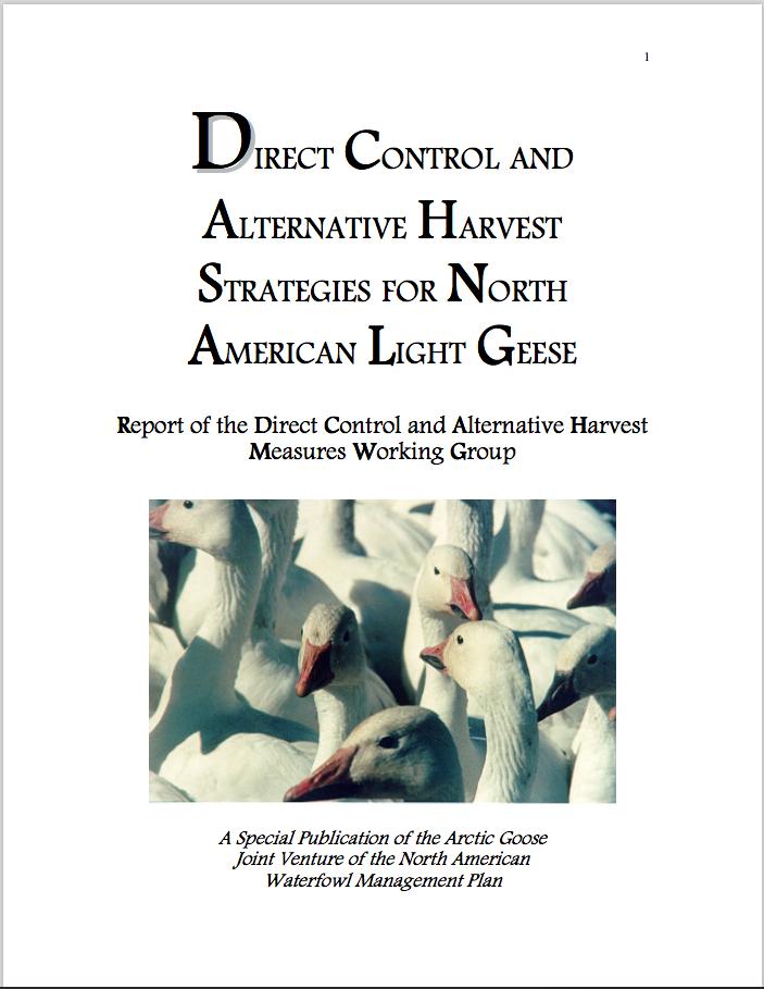 Contrôle direct et autres stratégies de récolte pour les oies blanches de l'Amérique du Nord