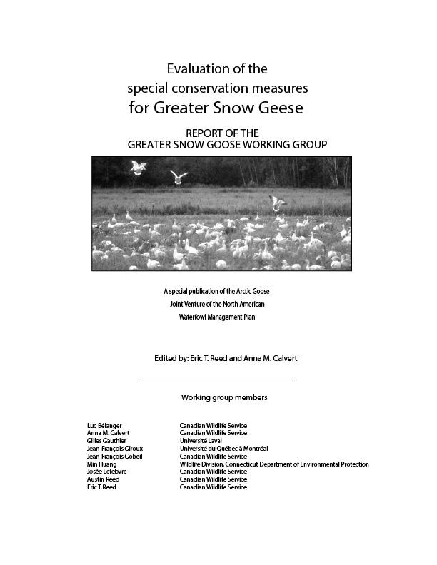 Évaluation de l'effet des mesures spéciales de conservation sur la Grande Oie des neiges
