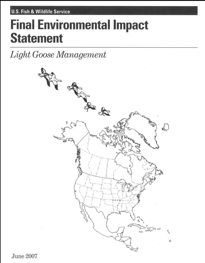 Déclaration finale des impacts sur l'environnement de la gestion des oies blanches