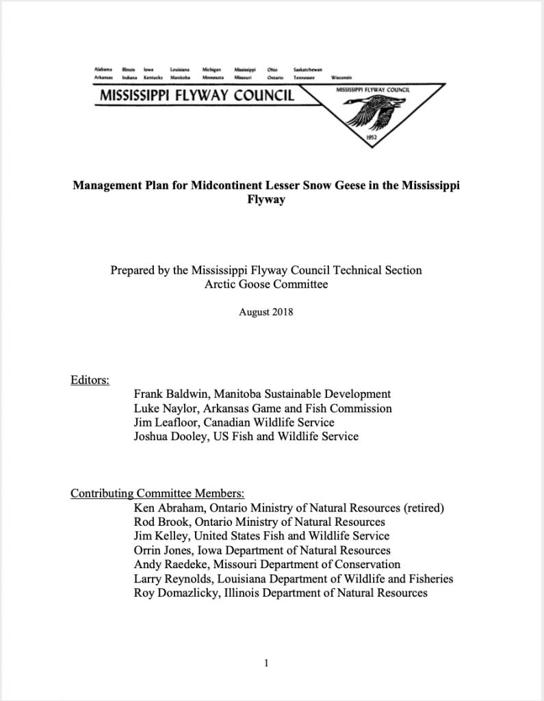 Plan de gestion de la Petite Oie des neiges du Centre du continent pour la voie migratoire du Mississippi